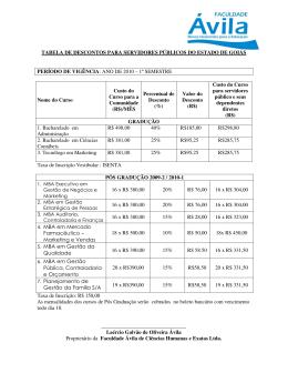 TABELA DE DESCONTOS PARA SERVIDORES PÚBLICOS DO
