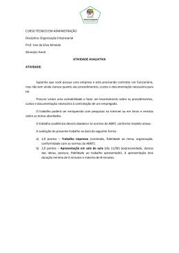 Organização Empresarial Prof. Iran da Silva Almeida Aluno(a): Karol