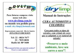 Manual de Instruções CERA AUTOMOTIVA COLORIDA