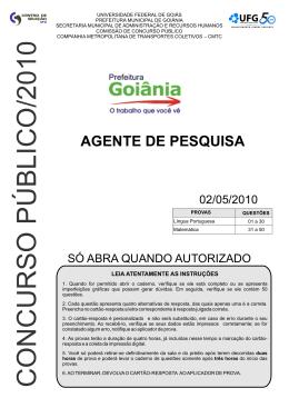 Prova - Prefeitura de Goiânia