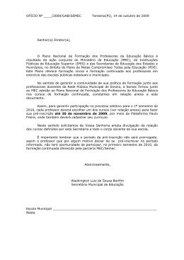 OFÍCIO Nº ____/2009/GAB/SEMEC Teresina(PI), 14 de outubro de