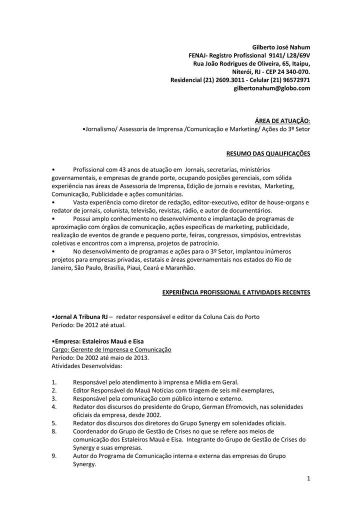 1 Gilberto José Nahum FENAJ- Registro Profissional 9141/ L28/69V