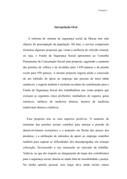 Interpelação Oral A reforma do sistema de segurança social de