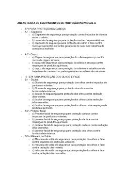 ANEXO I LISTA DE EQUIPAMENTOS DE PROTEÇÃO