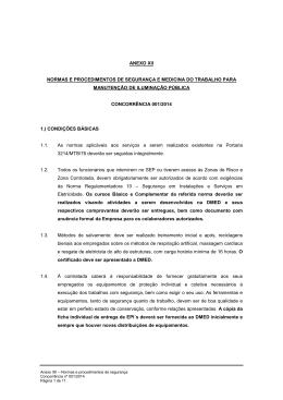 ANEXO XII - Normas e procedimentos de segurança e medicina do