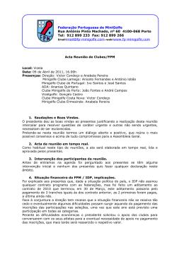 Federação Portuguesa de MiniGolfe Rua António Pinto Machado, nº
