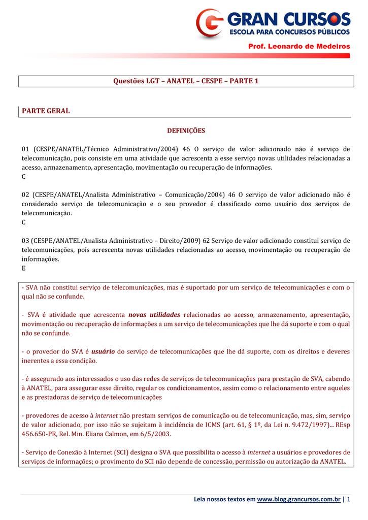 53ab5bb1f Questões LGT – ANATEL – CESPE – PARTE 1 PARTE GERAL