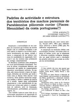 Padrões de actividade e estrutura dos territórios dos machos