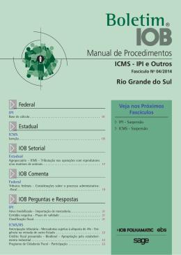 IOB - ICMS/IPI - Rio Grande do Sul - nº 04/2014