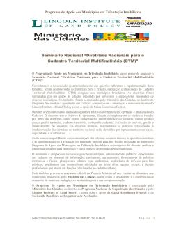 """Seminário Nacional """"Diretrizes Nacionais para o Cadastro Territorial"""