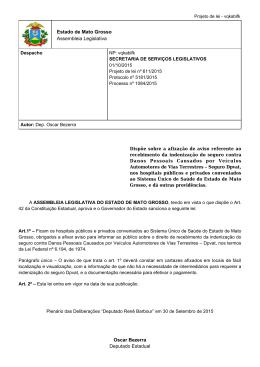 Estado de Mato Grosso Assembleia Legislativa Oscar Bezerra
