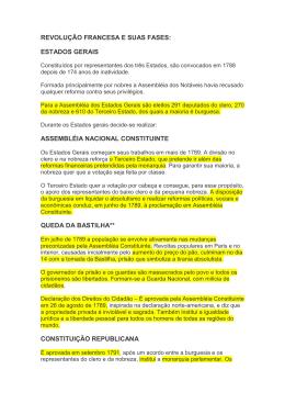 REVOLUÇÃO FRANCESA E SUAS FASES