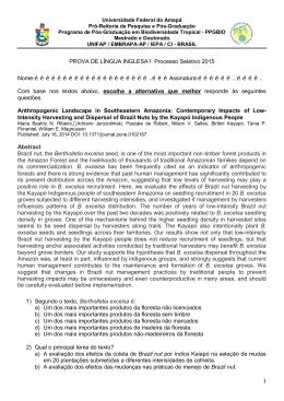 Prova de Inglês (Turma 2015) - Universidade Federal do Amapá