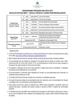 cronograma processo seletivo 2015 bolsa de estudo mext – escola