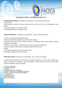 PROGRAMA DE PROVAS – PROCESSO SELETIVO 2015