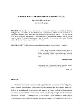 DERRIDA E HEIDEGGER: ESTRATÉGIAS DA