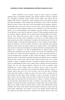 DISCURSO DO EXMO. DESEMBARGADOR ANTÔNIO ÁLVARES