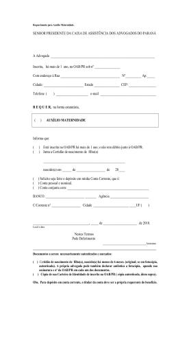SENHOR PRESIDENTE DA CAIXA DE ASSISTÊNCIA DOS