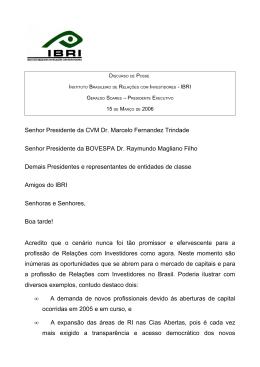 Senhor Presidente da CVM Dr. Marcelo Fernandez Trindade