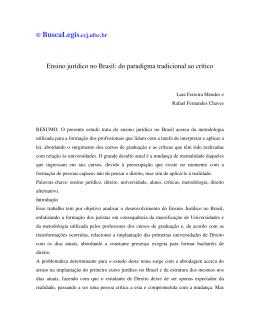 Ensino jurídico no Brasil: do paradigma tradicional ao crítico
