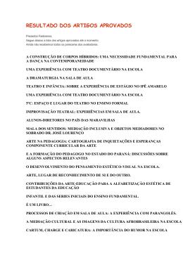 RESULTADO DOS ARTIGOS APROVADOS