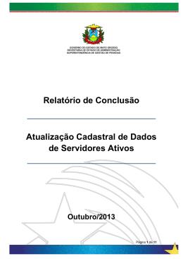 Relatório de Conclusão Atualização Cadastral de Dados