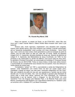 Auto-biografia do Pe. Vicente Ruy Marot, CSS