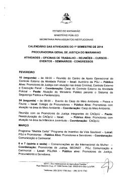 CALENDÁRIO DAS ATIVIDADES DO 1° SEMESTRE DE 2014