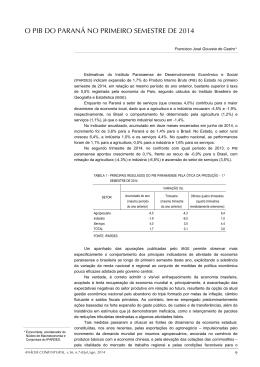 O PIB DO PARANÁ NO PRIMEIRO SEMESTRE DE 2014