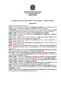 Cronograma do 2º semestre de 2014 – IF Farroupilha – Câmpus