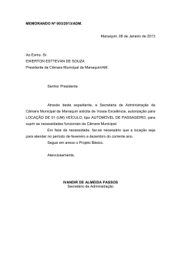 MEMORANDO Nº 003/2013/ADM. Manaquiri, 08 de Janeiro de