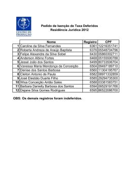 Nome Registro CPF 1 Caroline da Silva Fernandes 6361