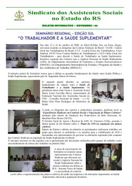 """""""O TRABALHADOR E A SAÚDE SUPLEMENTAR"""""""