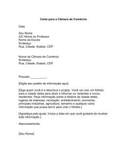 Carta para a Câmara de Comércio Data Seu Nome A/C Nome