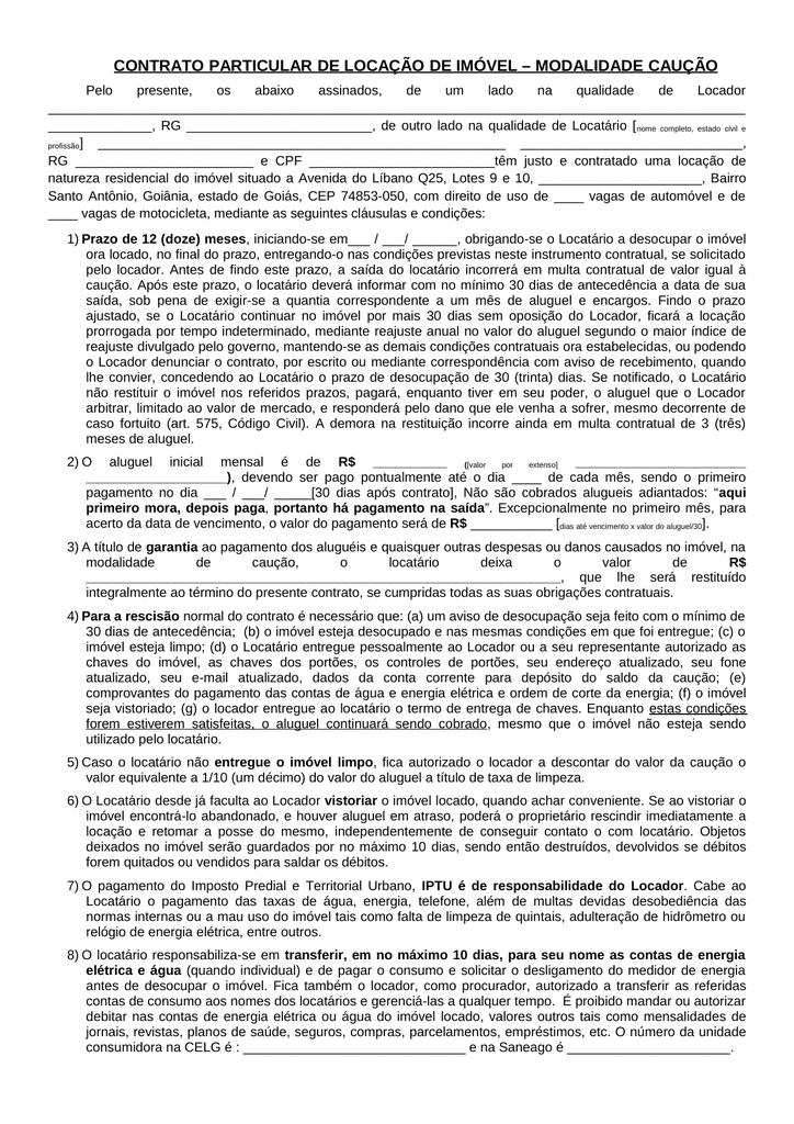 CONTRATO PARTICULAR DE LOCAÇÃO DE IMÓVEL 9a96d02be1