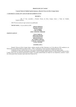 PROJETO DE LEI Nº 401/05 Concede Título de Cidadão Espírito