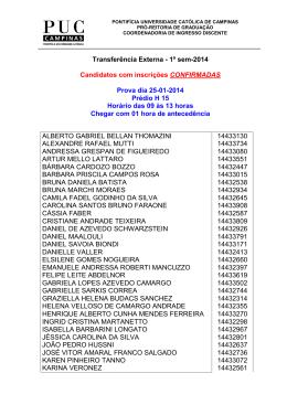 Transferência Externa - 1º sem-2014 Candidatos - PUC