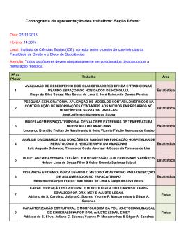 Cronograma de apresentação dos trabalhos: Seção Pôster