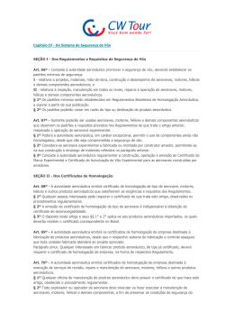 Capítulo IV - Do Sistema de Segurança de Vôo