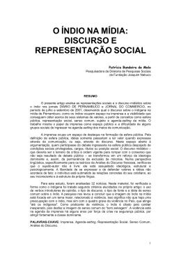 o índio na mídia: discurso e representação social