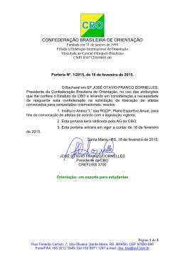 Portaria 01_2015 - Confederação Brasileira de Orientação