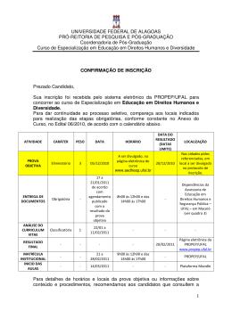 Confirmação de inscrição - Universidade Federal de Alagoas