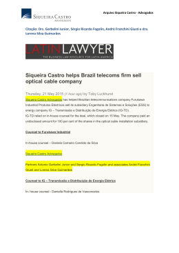 Siqueira Castro helps Brazil telecoms firm sell optical cable company