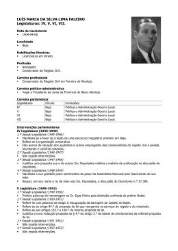 LUÍS MARIA DA SILVA LIMA FALEIRO Legislaturas: IV, V, VI, VII.