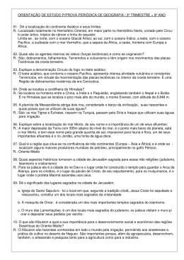 ORIENTAÇÃO DE ESTUDO P/PROVA PERIÓDICA DE GEOGRAFIA