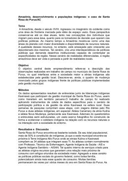 AMAZÔNIA E FRONTEIRA: OS KAXINAWÁ DE SANTA ROSA DO
