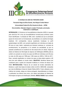 O AVANÇO DA AIDS NA TERCEIRA IDADE Fernando Hiago da