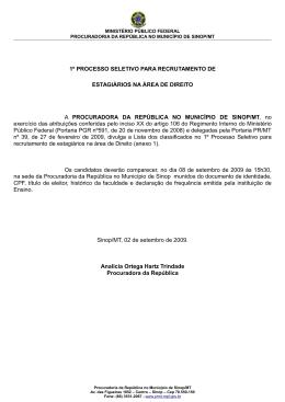 1º PROCESSO SELETIVO PARA RECRUTAMENTO DE