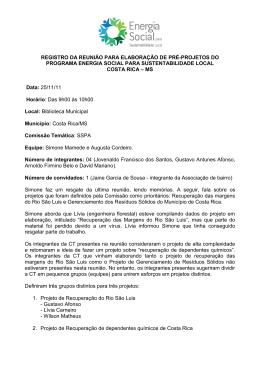 Memória Reunião da CT de SSPA de Costa Rica Novembro de 2011