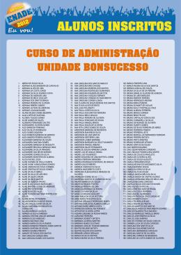 CURSO DE ADMINISTRAÇÃO UNIDADE BONSUCESSO